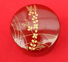 UNMARKED CHINESE RED LACQUER / GOLD FLOWER STYLE CIRCULAR LAYERED TRINKET BOX!