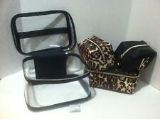 Victoria's Secret Train Travel Case  Makeup Bag,  Cheetah Leopard, 4 Piece New