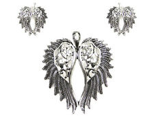 "2.5"" Silver Tone Magnetic Wing Pendant with Dangling Earrings"