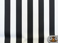 """Indoor/Outdoor Waterproof Deck Stripe BLACK WHITE Fabric 54"""" W Sold by the Yard"""