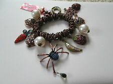 NWT Auth Betsey Johnson Vintage Vegetable Garden Spider Charm Stretch Bracelet