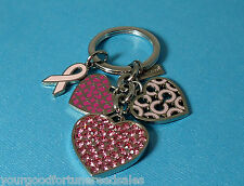 Coach LR Crystal Breast Cancer Awareness Mix Charm Key Chain Ring  Heart Pink
