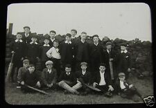 Glass Magic Lantern Slide BOYS CRICKET TEAM  C1910  L74