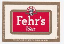 Fehr's Beer Label