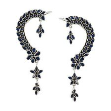 Jewels Of Jaipur Silver Synthetic Blue Stone Cuff Earrings Girls Jewelry TERC3US