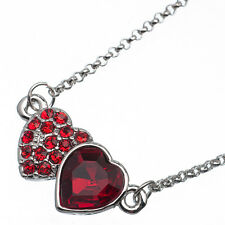 3.60 Ct Heart Cut Style Shape Red Garnet / Ruby CZ 18K White Gold Plated Pendant