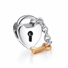 Heart lock key European charms Silver bead For S925 Bracelet/Necklace Chain US