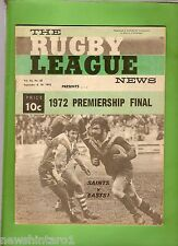 #T51. RUGBY LEAGUE NEWS 9-10 September 1972, St George & Eastern Suburbs  Cover