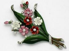 TRIFARI Philippe 1940 Enamel Rhinestone Flower Fur Clip Pin BK PC