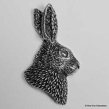 Rabbits Head Pewter Pin Brooch -British Hand Crafted- Bunny Lapin Hare Rabbit