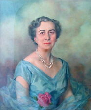 DISTINGUISHED LADY SOCIETY w ROSE & PEARLS PORTRAIT NEW YORK 1952 WOMAN ARTIST