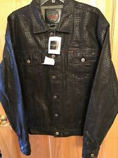 Guess Jeans Cyber Cowboy Textured Look Jean Jacket Black Size Large NWT!