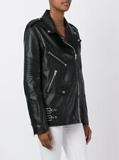New Genuine Leather Classic Biker Jacket Long Ribbed Quilted Moto Style Women
