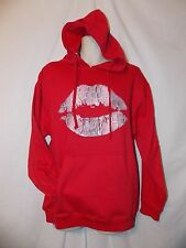 mens popular demand sweatshirt hoodie M nwt red lips