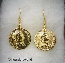 Roman Coin Earrings. 22ct Gold Plated, Gift Boxed (wa)