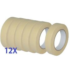 12 X Quality Masking Tape 25mm X 50m Indoor/Outdoor General Purpose Decorating
