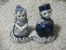Set of Hand Painted Delft Blue Holland Dutch Boy Girl Salt&Pepper Shakers&Holder