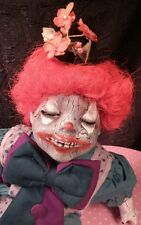 Harold Creepy OOAK Reborn, Horror Porcelain Clown Doll