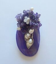 Pendant/Pin- Oval Purple flowers leaves- genuine gemstone- purple & pearl beads