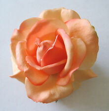 """4"""" Apricot,Cream,Real Touch Rose,Poly Silk Flower Hair Clip,Updo,Pin Up,Hat"""