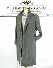 Men's VTG 70's Grey DUNN & CO WOOL Tweed Overcoat MOD Smart Mad Men Coat UK L