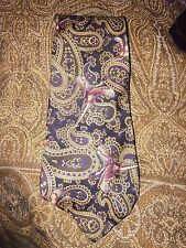 Brooks Brothers black gold pheasant paisley print Hand Made silk tie USA