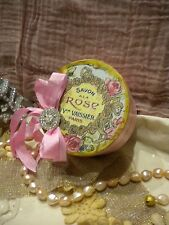 Shabby Chic Round Decorative Paper Mache Box Vintage Paris Soap Label