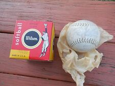 "Vintage Wilson 12"" Inch  Softball with box A9130 Ball Kapok Center"
