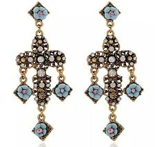 ZARA ELEGANT BAROQUE CROSS BLUE FLOWERS DROP DANGLE EARRINGS – NEW