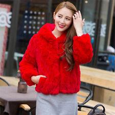 Women#2 Warm Winter Real Rabbit Fur Hooded Jackets Coat Overcoat Jacket Outwear