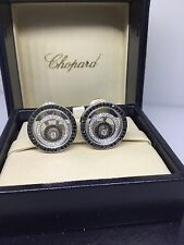 CHOPARD HAPPY SPIRIT BLACK & WHITE DIAMOND EARRINGS 845425 NEW! $26,210 RETAIL!!