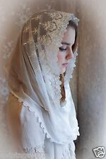 Evintage Veils~ Our Lady Vintage Inspired White Lace Infinity Veil Mantilla