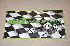 "KAWASAKI RACING BANNER 48"" X 24"" WITH 2 STICKERS DECALS KX 450F NINJA"