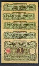 ALEMANIA LOTE 5 BILLETES 1 MARK 1920 Pick 58   SC   UNC