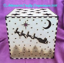 Christmas Mdf Wood lamp night Light Shadow Box Cube 15cm/150mm Wooden Craft