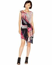 NWT Rachel by Rachel Roy printed asymmetrical hem Dress size S sheath chili $139