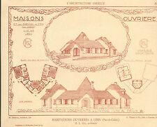 62 LENS MAISONS OUVRIERES CIE DES CHEMINS FER DU NORD ARCHITECTE IMAGE 1917/20