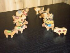 ANTIQUE EARLY AMERICAN HAND CARVED WOODEN FOLK ANIMAL TOY LOT OF 12