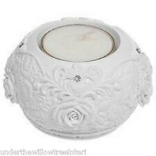 Pair of Large White Crystal Rose  Tealight Candle Holders T-Light Bedroom Living