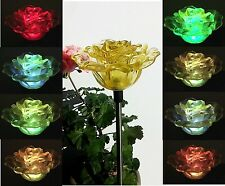 Solar Powered Yellow Rose Flower Garden Stake Outdoor Patio Decor Yard LED Light