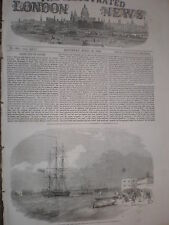 Launch HMS Argus towing a Russian prize into Portsmouth 1854 old print