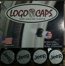 Logo Caps JEEP Black/Silver Logo Tire Air Valve Caps - Black Graphite Finish