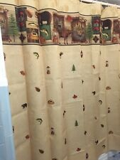 Rustic Camping Trip Woodland Northwood Bear Moose Fish Tree Bath Shower Curtain