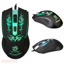 4D Adjustable 2400DPI 7 Color Optical Wired Gaming Mouse USB Game Mice For PC