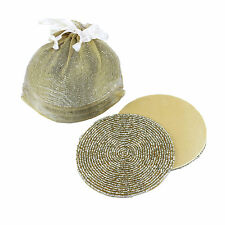 6 GOLD BEADED ROUND SATIN-BACKED COASTERS, IN GIFT BAG, Many available