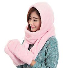 New 3 in 1 Ladies Winter Warm Fluffy Hood Scarf Hat Snood Pocket Hats Gloves FI