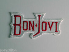PUNK ROCK HEAVY METAL MUSIC SEW ON / IRON ON PATCH:- BON JOVI (c) WHITE STRIPE