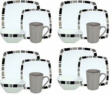 16PC Melamine Dinner Set Square Plates Bowls Mugs Dinnerware Set 4 Place Setting