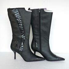 New Suzanne Somers Womens Boots Black Leather Croc Embossed Knee High Sz 71/2 M