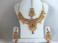 Bollywood Schmuckset 3-Teilig Tikka Ohrringe Halskette Rosa Gold Sari Indien S33